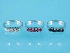 3 Allianzringe mit jewiels 5 Saphiren, 5 Rubinen und 5 Brillanten, zusammen ca. 0,50 ct, 70-er Jahre