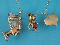 Collierkette mit 3 verschiedenen Anhängern, 20. Jh. 1.) Collierkette. 585/- Gelbgold.