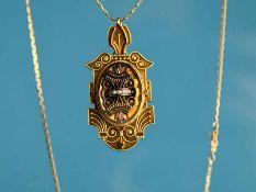 Medaillon mit kleinen 3 Keshirperlen u. Collierkette, um 1900. 585/- Gelbgold. Gesamtgewicht ca.