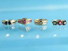 4 verschiedene Ringe mit Rubinen, Saphiren, Smaragden- und Diamanten, 20. Jh. 1.) 585/ -Gelbgold.
