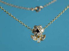 Collier mit Blütenanhänger, kleiner Saphir und Brillanten und Diamant-Baquette, zus. ca. 0,8 ct,