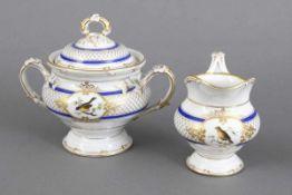 KPM BERLIN Milch und Zucker Set um 1840-1970, bauchiger Korpus, königsblaues Streifendekor, gold