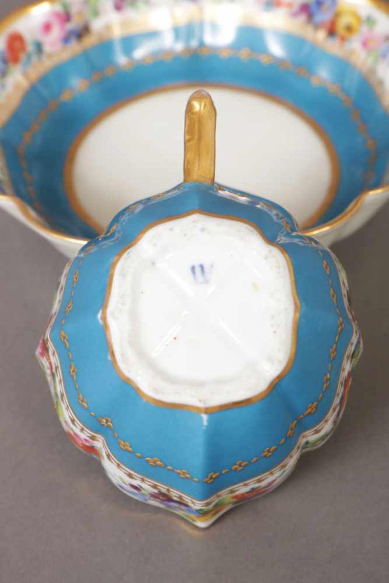 Los 14 - Manufaktur POPOW/MOSKAU Porzellantasse mit Untertasse um 1830-1872, achtpassiger Korpus, umlaufend