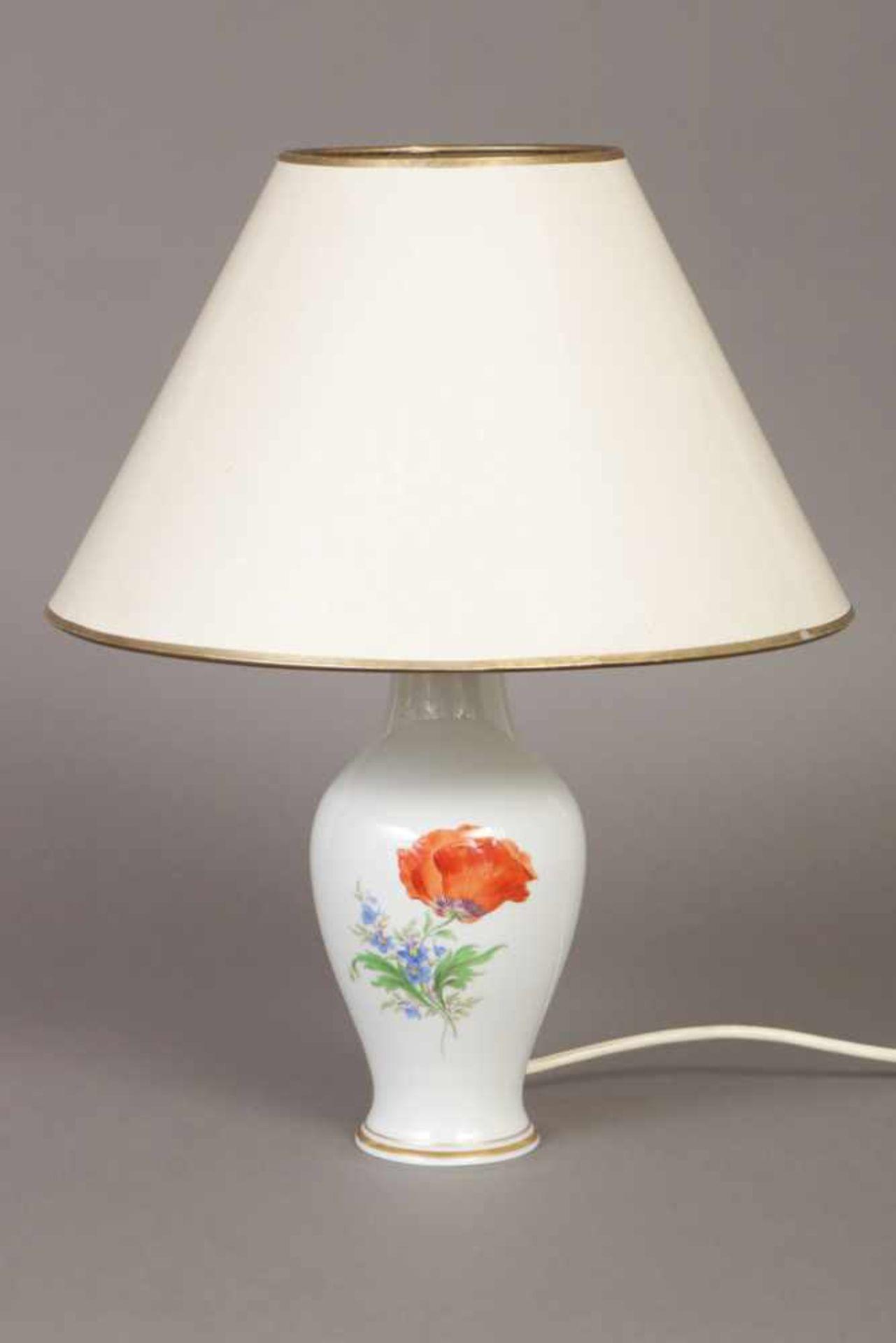 Los 54 - MEISSEN Tischlampe 2. Hälfte 20. Jhdt., vasenförmiger Stand mit Bouquetmalerei und Goldrand,