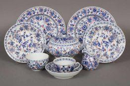 Konvolut RAUENSTEIN GEBR. GREINER Porzellan um 1850, unterglasurblaues Floral- und Vogeldekor,
