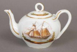 Biedermeier Teekanne bauchige Form mit geschwungenem Ausguss und Asthenkel, beidseitig der Wandung