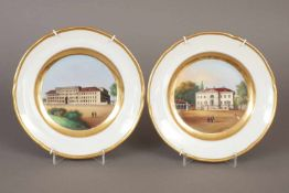 2 FÜRSTENBERG Ansichtenteller1. Hälfte 19. Jhdt., glatte Form, im Spiegel polychrome Architektur-