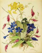 Bildplatte Blumenstilleben. Bildplatte Blumenstilleben. ROSENTHAL, farbig bemalt, rechts unten