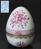 Deckeldose in Eiform. Deckeldose in Eiform, zweiteilig. HEREND/Ungarn, 20. Jahrhundert. Florale