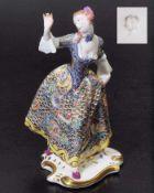 """Kommödiantenfigur """"Leda"""". Modell von Bustelli um 1760. Kommödiantenfigur """"Leda"""". NYMPHENBURG, um"""