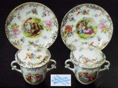 Zwei Deckeltassen. Zwei Deckeltassen. Wohl Thüringen, 19. Jahrhundert. Farbige Bemalung, gold