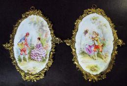 Zwei ovale Bildplatten. Zwei ovale Bildplatten. 20. Jahrhundert. Umdruckverfahren mit polychromer