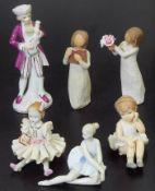 Konvolut mit sechs Figuren. Konvolut mit sechs Figuren. 1) Ballerina, MORENA Porcellana, 20.