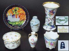 Sechs Teile Konvolut. Sechs Teile Konvolut. Bestehend aus: 1) Vase, Thomas Bavaria, farbige Bemalung