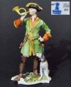 """Figurengruppe """"Postillon mit Posthorn und Hund"""". Figurengruppe """"Postillon mit Posthorn und Hund"""","""