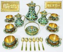 Russisches Cloisonné-Email-Service.Russisches Cloisonné-Email-Service, insgesamt 22 Teile.