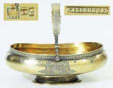 Seltene russische HenkelschaleSeltene russische Henkelschale. Moskau Ende 19. Jahrhundert. Silber,