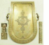 Seltenes russisches Tablett. Moskau Ende 19. Jh., Silber, 84 zolotnik vergoldetSeltenes russisches
