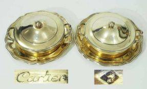 """Paar französische Deckelschalen """"Cartier"""" mit Platzteller. Paar französische Deckelschalen """"Cartier"""""""