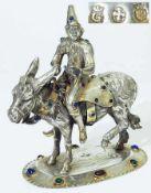 Pierrot auf Muli/Esel.Pierrot auf Muli/Esel. Silber, Marke gekröntes G. Pierrot in bewegter