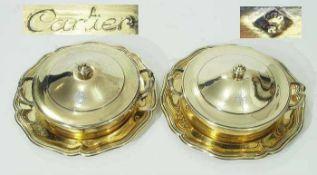 """Paar französische Deckelschalen """"Cartier"""" mit Platzteller.Paar französische Deckelschalen """""""