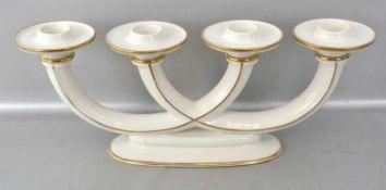 Tischkerzenleuchter 4-lichtig, beigefarben, gold verziert, H 15 cm, B 40 cm, FM Hutschenreuther,