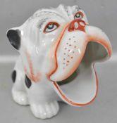 Zigarettenspender in Form eines Hundes, bunt bemalt, H 11 cm, FM, um 1920