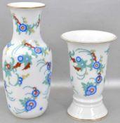 Zwei Vasen Wandung mit bunter Verzierung, Goldrand, H 19 cm bzw. 13 cm, FM Rosenthal, 60er/70er