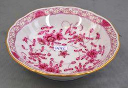 Schale rotes Kirschblütendekor, Goldrand, Dm 14 cm, blaue Schwertermarke Meissen
