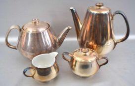 Kernstück Tee- und Kaffeekanne, Milch- und Zuckerschale, versilbert, 30er/40er Jahre, FM WMF