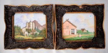 Zwei Porzellanbilder Abbildung eines Schloss in den Bergen in sommerlicher Landschaft mit
