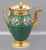 Biedermeier-Kanne Wandung grün-gold, mit goldenen Blüten verziert, besch./restauriert, H 20 cm, 1.