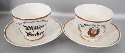 Zwei Tassen mit Untertassen, Geburtstagstassen, mit Goldrand, eine Tasse dat. 1870, FM