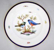 Teller Rand kobaltblau mit gold, Spiegel mit Vögeln auf Ast und Insekten bemalt, Dm 25 cm, FM