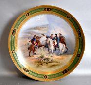 Prunk-Teller gold/grüner Rand, Spiegel mit Napoleon und seinen Offizieren, Kampf um Heilsberg, Dm