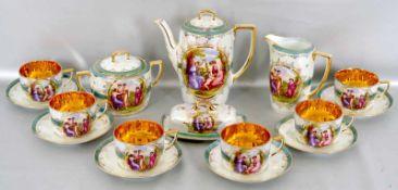 Konvolut Kaffeeservice für sechs Personen, 16 Teile, gold verzierter blauer Rand, runde Medaillons