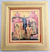 Porzellanikone Marias Einführung in den Tempel, kleine Reiseikone, limitierte Auflage 551/3000, 15 X