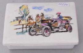 Deckeldoserechteckig, Deckel mit Automobil und Pferden auf der Koppel verziert, FM Rosenthal, 50er
