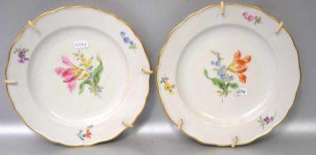Zwei TellerGoldrand, Rand und Spiegel mit bunter Feldblumenbemalung, Dm 20 cm, blaue
