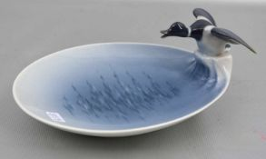 Gebäckschaleoval, Rand mit plastischer Ente verziert, bunt bemalt, L 16 cm, FM Kopenhagen