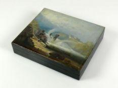 Schatulle (London, 19.Jh.) schwarz gelackte Holzschatulle; rechteckige Form; auf Deckel gemalte