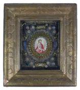 Reliquien-Rahmen (18./19.Jh.) Silber- und Messingdraht-Geflecht mit Blütendekor; mittig gemaltes