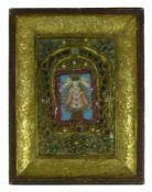 Klosterarbeit (19.Jh.) mittig farbige Bekrönungs-Szene; umrahmt von Messing- und Silberdraht mit