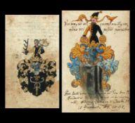 2 div. Wappendarstellungen (Ende 16.Jh.) in schwarz und gold bzw. blau, gelb und schwarz gemalte