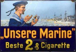 """Werbe-Emailschild (1.H.20.Jh.) """"Unsere Marine"""" Beste 2&Zigarette; guter Zustand; lediglich an beiden"""
