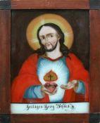 """Hinterglasbild (19.Jh.) """"Christus-Darstellung""""; am unteren Rand bezeichnet: """"Heiliges Herz Jesus"""";"""