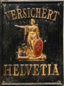 Werbe-Blechschild (1.H.20.Jh.) VERSICHERT HELVETIA; schwarz und gold mit rotem Kreuz; Weißblech;