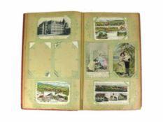 Postkartenalbum (Anfg. 20.Jh.) 142 Ansichten- und Glückwunschkarten; vorwiegend Südwestdeutschland