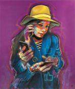 NAOMI DEVIL (1987 BUDAPEST) SMARTPHONE 2, 2017 Öl auf Leinwand, 130 x 110 cm Signatur Rückseite