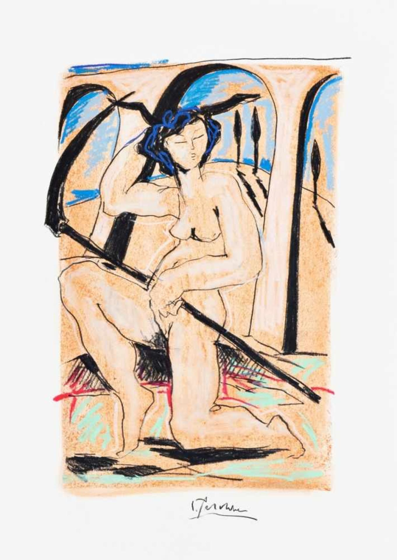 Los 66 - CHRISTIAN PESCHKE(1946 BAD SÄCKINGEN - 2017)o. T.Mischtechnik (Farbkreide) auf Papier,70 x 50 cm,